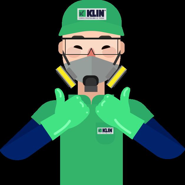 Ilustração de profissional Klin fazendo sinal de positivo com as mãos