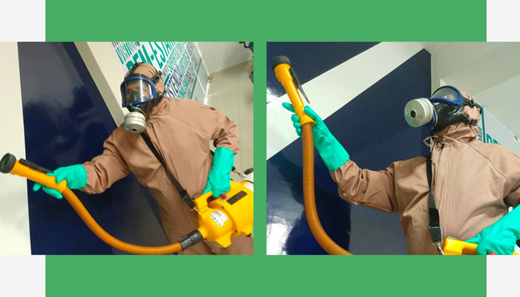 Profissional da Klin realizando sanitização em empresa